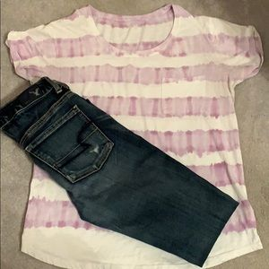 Purple and White Striped Tee with Pocket